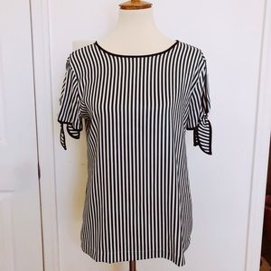 White and Green Stripe Blouse by Ann Taylor